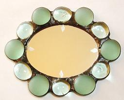 ステンドグラス アンティーク風 オーバル型 手鏡 お姫様気分