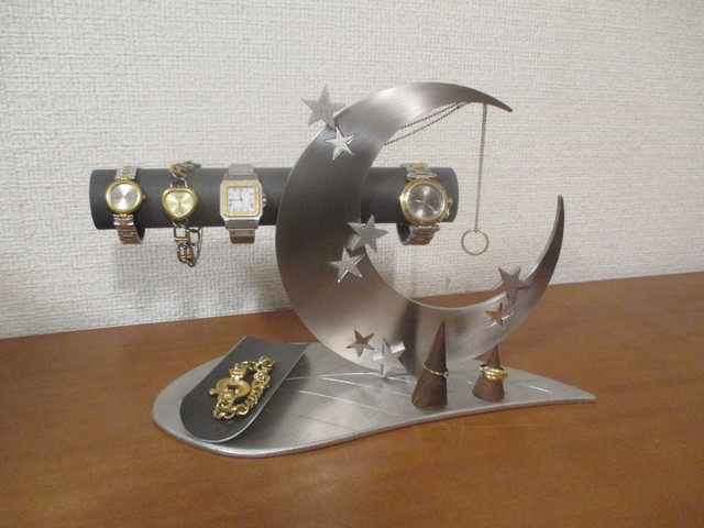 アクセサリー スタンド  リーフ三日月腕時計、ネックレス、リングスタンドトレイ ブラック