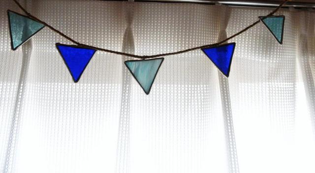 ステンドグラス フラッグガーランド ブルー系 インテリア雑貨