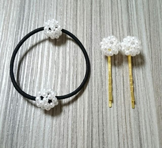 送料無料/親子でお揃い☆ヘアゴム&ヘアピン(ホワイトパール)