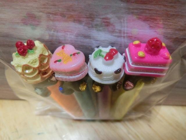 デコ鉛筆キャップ(ケーキ)4個セット