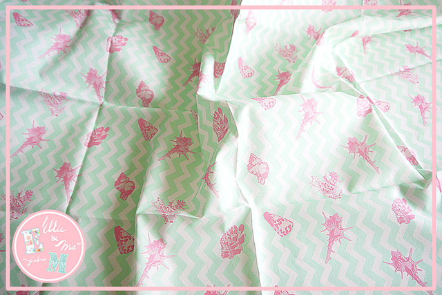 Order対応!! 【Ellie&M's fabric】パステルマリン (グリーン)55×110