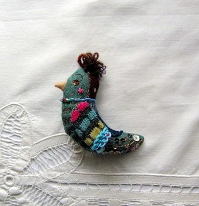 ウールの小鳥のブローチ BWNT-02 グリーングレー