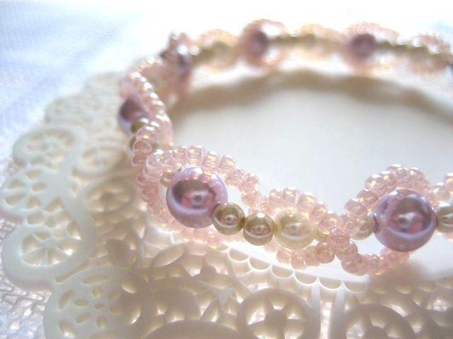 パールカラー編みブレスレット ピンク
