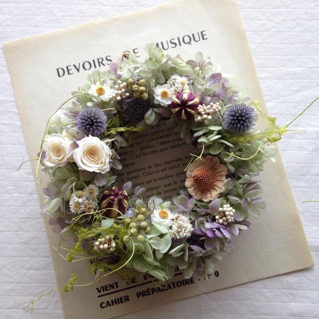 グリーンパープルのgarden wreath