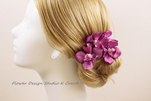 浴衣・七五三・成人式・結婚式に?紫の蘭のUピン(PA S:4本セット)