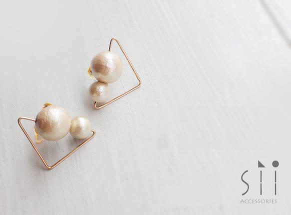 �㥤����cotton pearl earring/triangle