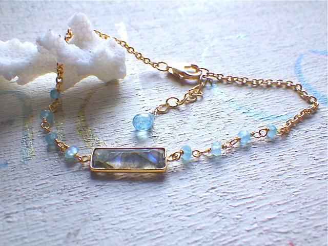 Rectangle Bracelet--ラブラドライト&アパタイト(ヴェルメイユ)