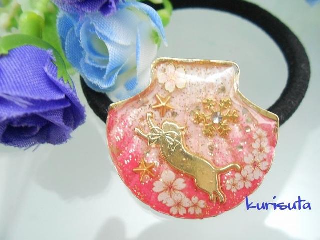シェル型のヘアゴム ラブリーピンク 桜・飛びつく猫・雪の結晶・星