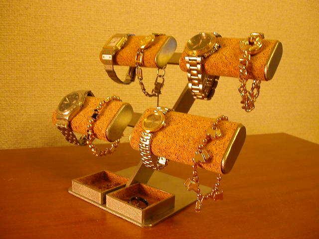 時計スタンド だ円パイプ8本掛け腕時計&アクセサリー宝箱スタンド