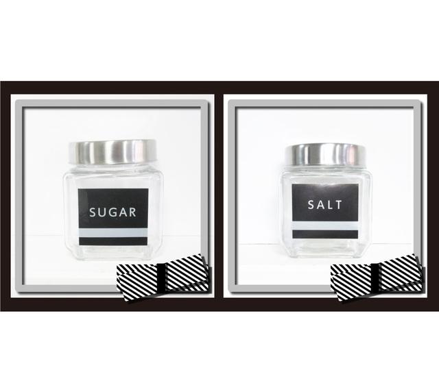 調味料ラベル・シール 砂糖&塩 黒色 | ハンドメイドマーケット ...