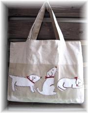 イヌのアップリケのおけいこバッグ
