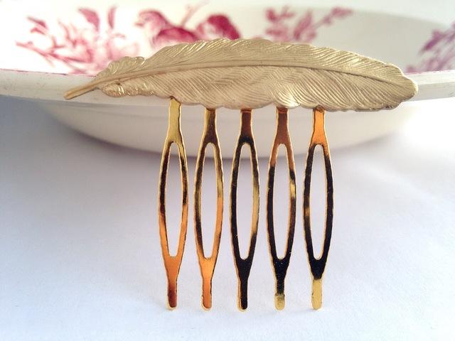 フェザー ミニヘアコーム(真鍮)