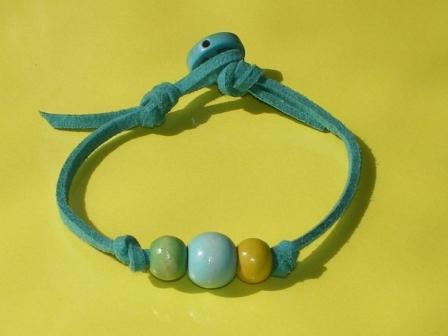 カラフルウッドブレスレット(青緑)