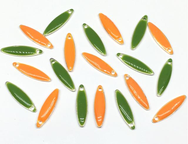 エナメルビーズ:オレンジ×グリーン/各10コ計20コ入り<15>