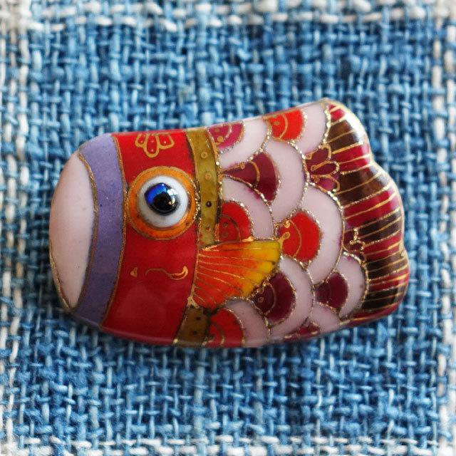 七宝焼ブローチ 緋鯉