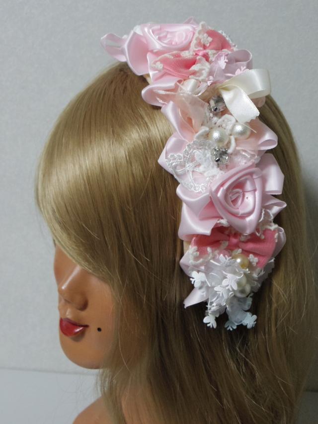 サテン風ピンクのバラとレースいろいろカチューシャ オリジナル