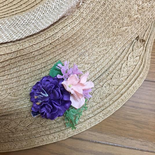 ミニサイズ  フラワーコサージュ  紫  パープル