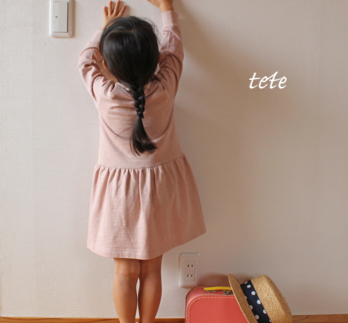 【size90】サクラ色のTシャツワンピース