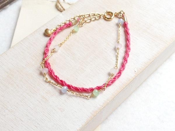 ピンク&パステル★ワックスコードとガラスビーズの2連ブレス