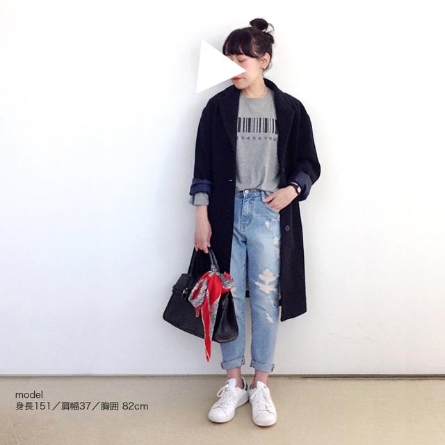 * 新作 * バーコード ロングTシャツ・グレー