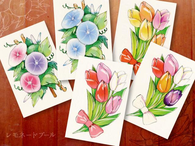 チューリップと朝顔のポストカード★5枚セット