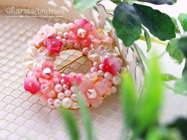 〔ブローチ〕春満開*桜のリースブローチ(小)