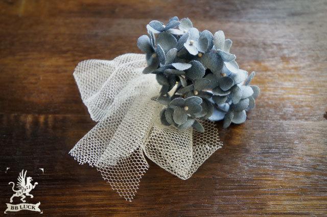 ear cuff 【 ちいさな紫陽花とチュールのイヤーカフ * blue 】