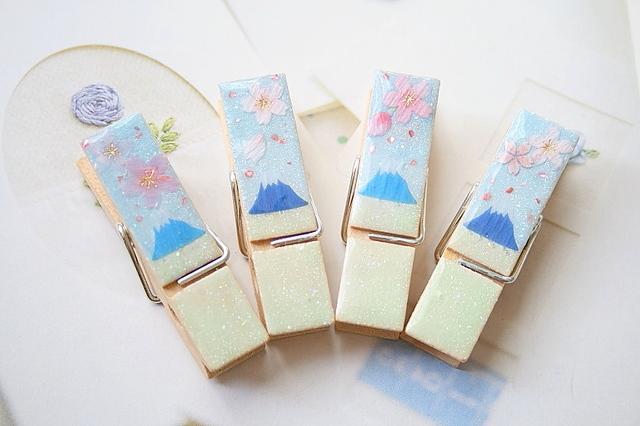 桜と富士山の木製クリップ