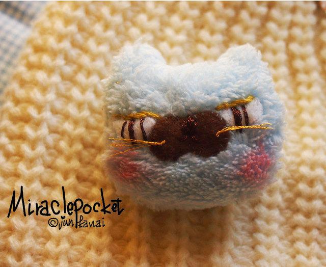 ★マスク猫ブローチ(水色)sぼくはクロ