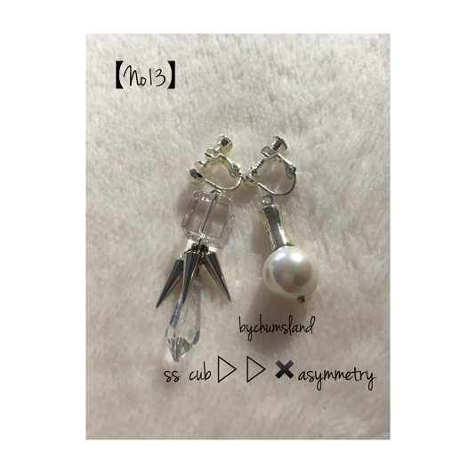 天然石??spike??asymmetry earrings