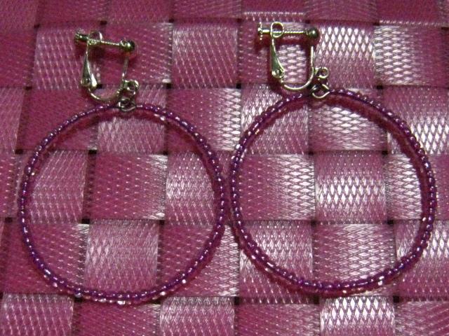 ★イヤリング★ビーズ★紫★フープ★シンプル★