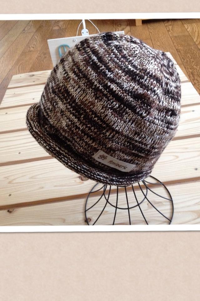 コットンウールの気軽にかぶる帽子 ブラウン系