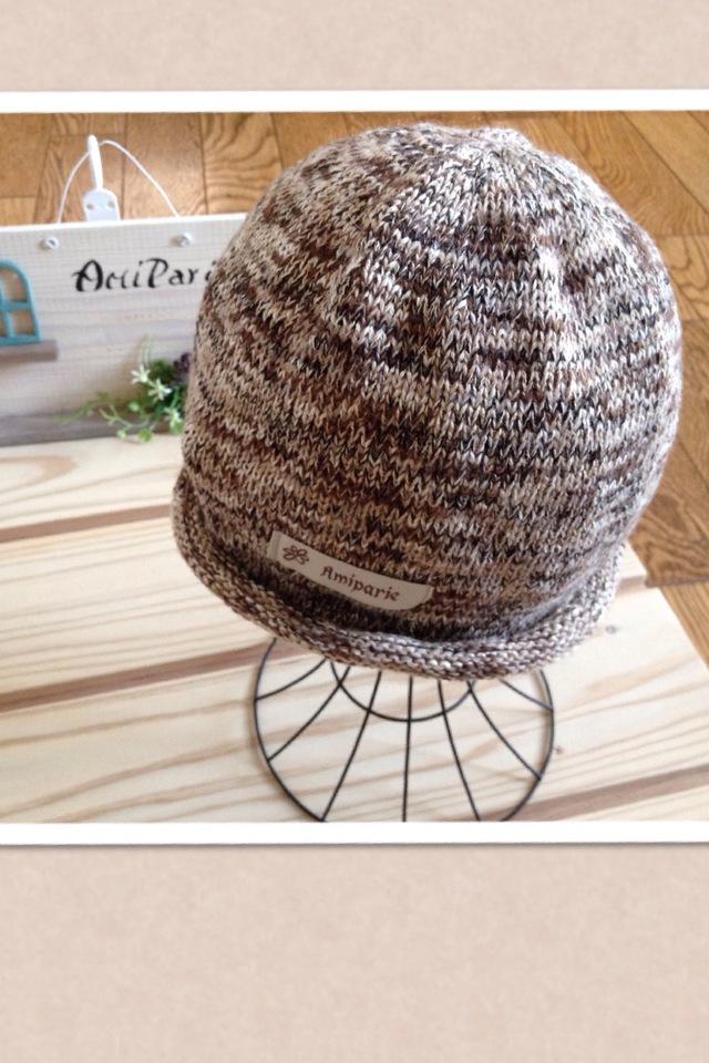 コットンウールの気軽にかぶる帽子 ライトブラウン系