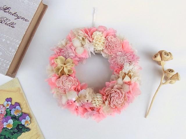 春色ピンクのパステルリース