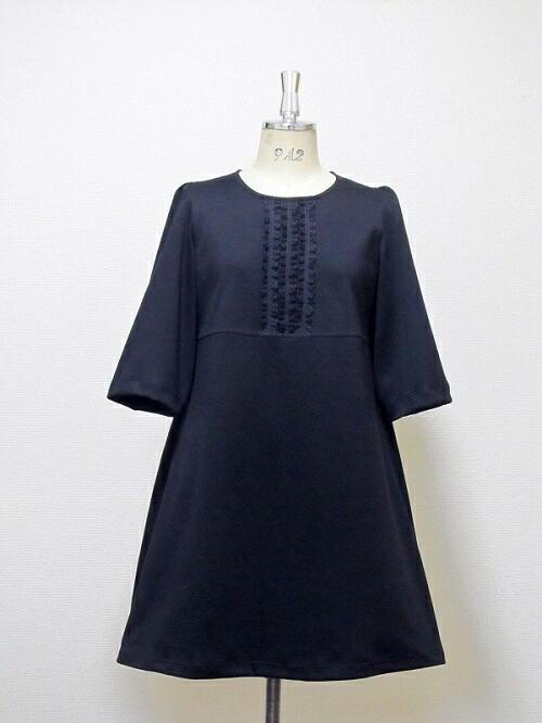 フリルレース☆厚めコットンのAラインドレス