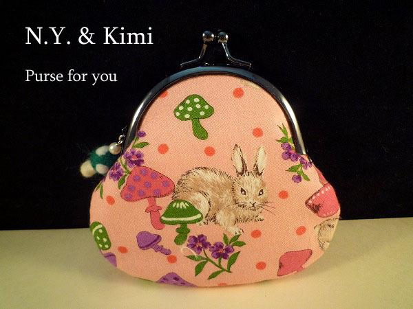 *ウサギさん&キノコ柄 がま口 財布 ポーチ*