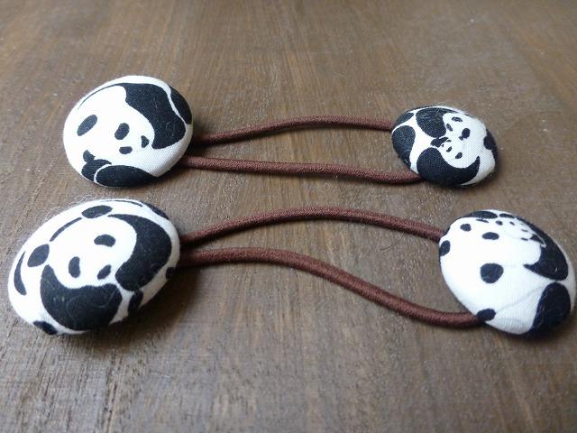 ぷっくりパンダのくるみボタンヘアゴム(2個セット)