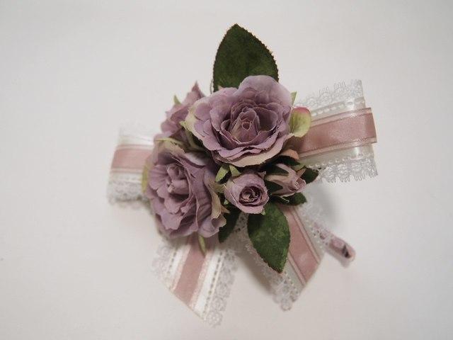 sawa-ya ~ ラベンダーカラーのバラのコサージュ(送料込)