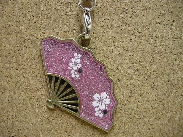 *扇のストラップ 桜 ピンクver.*