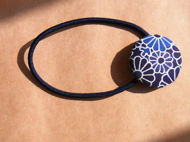 和紙のヘアゴム(青い花)