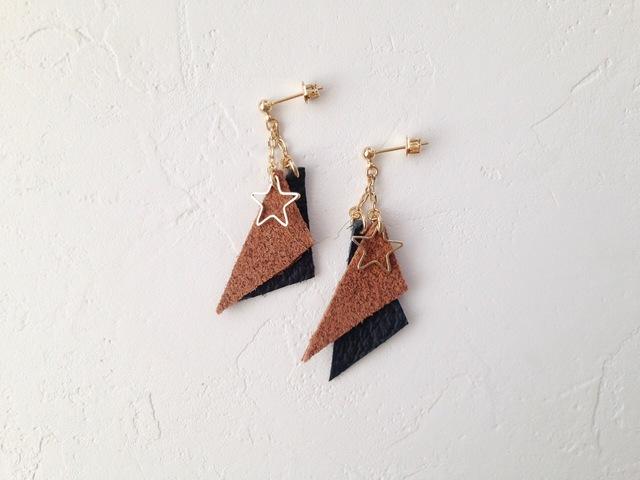 Triangle leather BR × BK pierce (NO.2516)