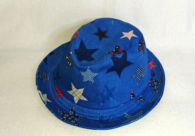 ブルー星柄ハット 56