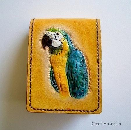 コンゴウインコ オウム メモパッド プレゼント ルリコンゴウ 鳥グッズ インコ 革 レザー 鳥 カバー