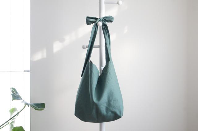 リネン リボンのバッグ(スモーキーグリーン )