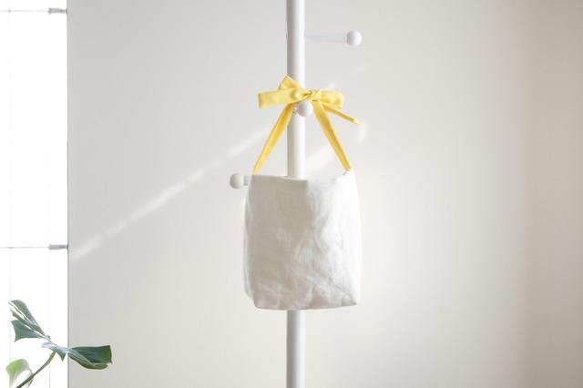 リネンキルティングリボンのバッグ(黄色 )