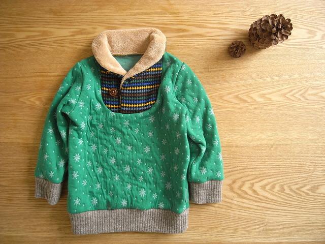 ショールカラープルオーバーricca green*100size