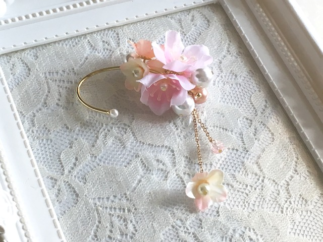 桜とパールのイヤーフック