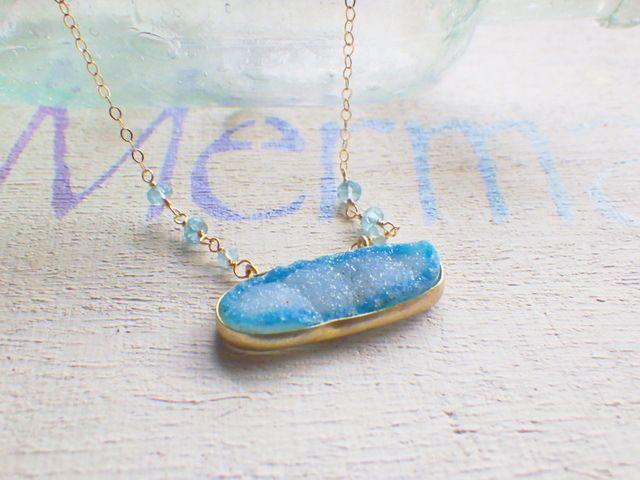 Ocean Druzy Necklace --14kGF