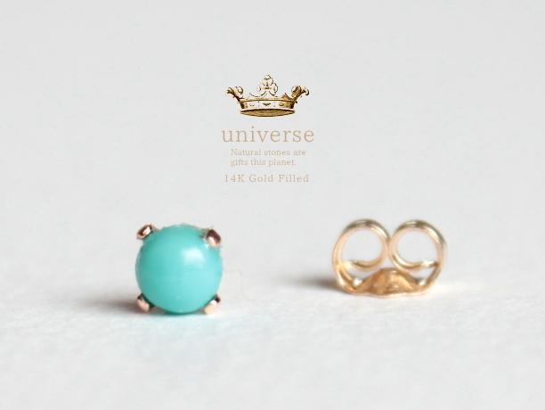 Universe/12 ターコイズ天然石スタッズピアス